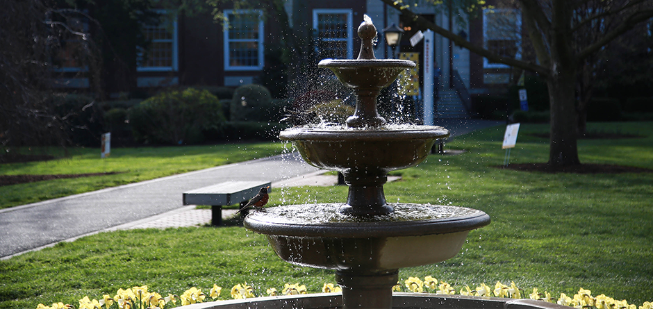 Fountain in front of Levermore Hall